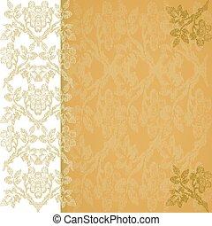 35 - Background floral border vertical gold, vintage vector...