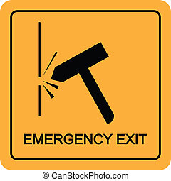 Emergency exit with smash hammer into the window icon vector