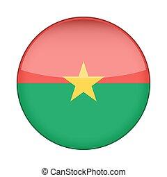 Flag of Burkina Faso. Shiny round button.