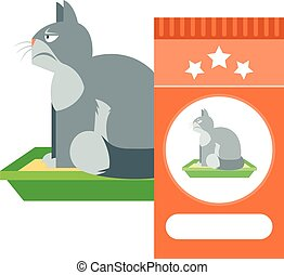Angry cat on the toilet as commercial - Flat Vector image of...