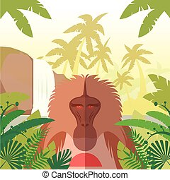 Baboon on the Jungle Background - Flat vector image of the...