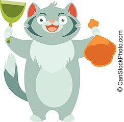 Cat and his toilet equipment - Flat Vector image of the Cat...