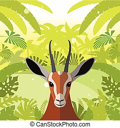 Antelope on the Jungle Background - Flat Vector image of the...