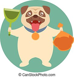 Dog and its toilet equipment - Flat Vector image of the dog...