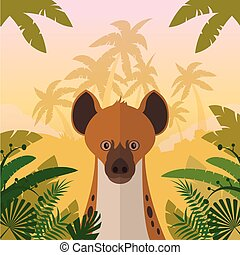 Hyena on the Jungle background - Flat Vector image of the...