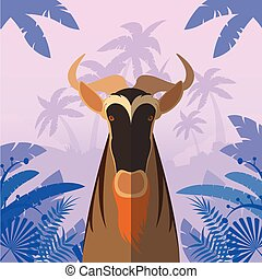 Horned Horse Gnu on the Jungle Background - Flat Vector...