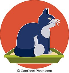 Angry cat on the toilet - Flat Vector image of the Angry cat...