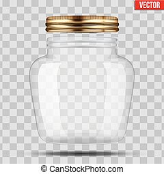 Glass Jar for canning and preserving. With opened metal...