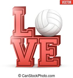 Love volleyball inscription.