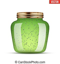 Glass Jar with kiwi jam. - Canning Glass Jar with kiwi jam....
