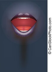 Night club Poster. Female mouth on dark Background. Party...