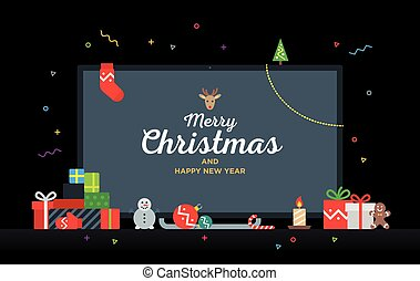 TV with Congratulatory text Merry Christmas and Happy New...