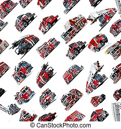 Cartoon Fire Truck seamless pattern isolated on white...