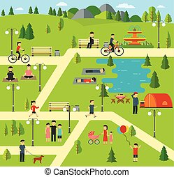 Public park, Camping in the park. - Public park, Camping in...