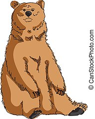 Grizzly bear isolated. Vector