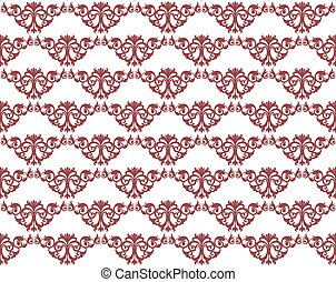 Damask style ornament pattern in red. Vector