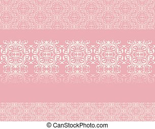 Lace ornament pattern on rose quartz background. Vector