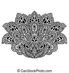 Indian ethnic ornament. Hand drawn henna tattoo decorative...