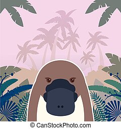 Platypus on the Jungle Background - Flat Vector image of the...