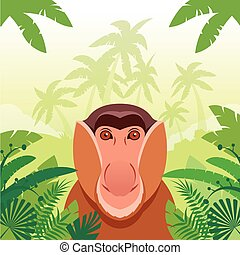 Long-nosed monkey on the Jungle Background - Flat Vector...