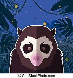 Spectacled Bear on the Jungle Background - Flat Vector image...