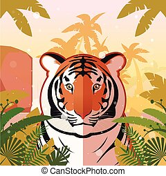 Tiger on the Jungle Background