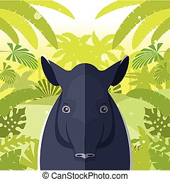 Tapir on the Jungle Background - Flat Vector image of the...