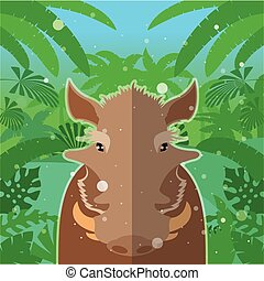 Wart-hog on the Jungle Background - Flat Vector image of the...