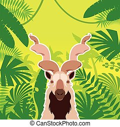 Markhor on the Jungle Background - v Vector image of the...
