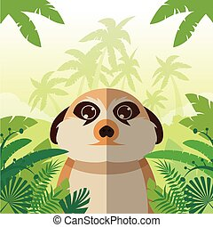 Meerkat on the Jungle Background - Flat Vector image of the...