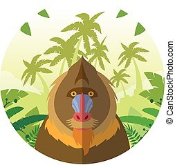 Mandrill on the Jungle Background - Flat Vector image of the...