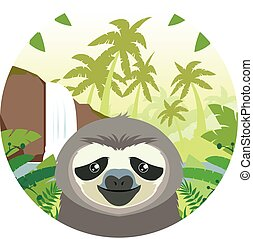 Sloth on the Jungle Background - Flat Vector image of the...