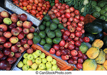 colorful fresh fruits selling at market