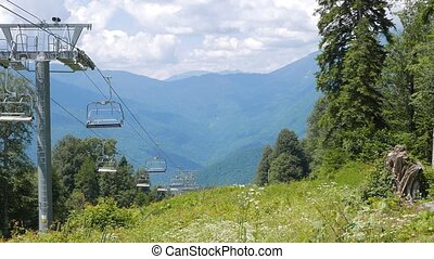 Do not move the Chairlift at the ski slope. Sochi, Russia....