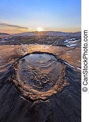 Mud Volcanoes, Romania - sunset in Mud Volcanoes. Buzau...