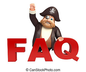 Pirate with FAQ sign