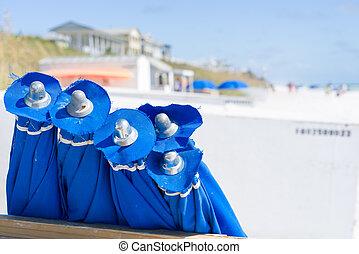 Blue Umbrellas at the Beach