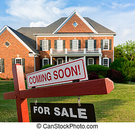 For sale sign in front of large USA home - For Sale and...
