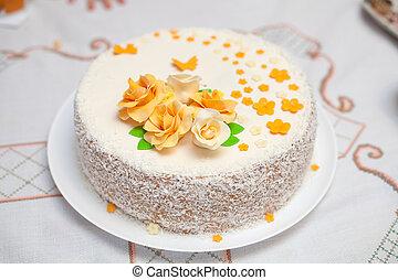 mastic, flores, Primer plano, pastel, blanco, adornado