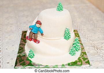 pastel,  mastic, Esquiador, forma, Montaña