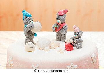 mastic, invierno,  teddy, osos, pastel, adornado