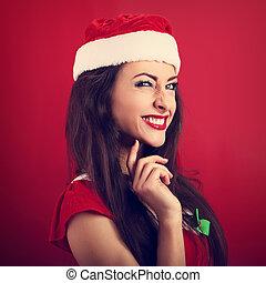 mujer, Plano de fondo, excitado, Claus, haciendo mueca,...