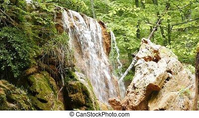 Waterfall. Silver Streams, mountain Crimea