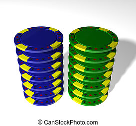 Poker chips - Blue and green poker chips on white background