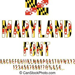 USA flag font - Maryland USA state flag font. Alphabet,...