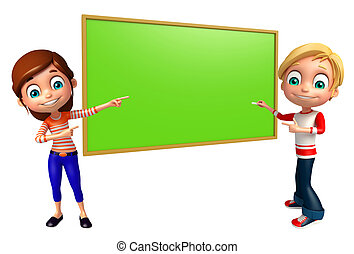 Kid boy and girl with Writing board