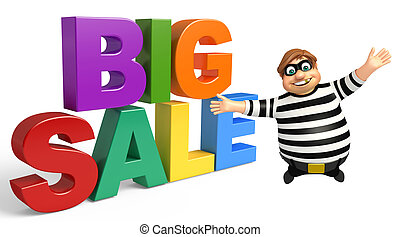 Thief with Big sale sign