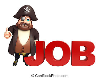 Pirate with Job sign