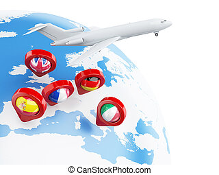 3D Globe, airplane and map pointer. - 3D Illustration....