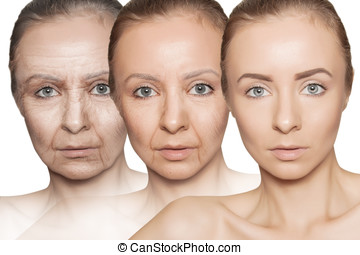 three ages of woman with skin getting old